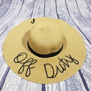 BOGO Tan Off Duty Sequin Straw Floppy Beach Hat